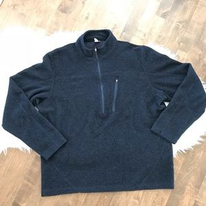 Ibex merino wool navy blue half zip pullover shirt